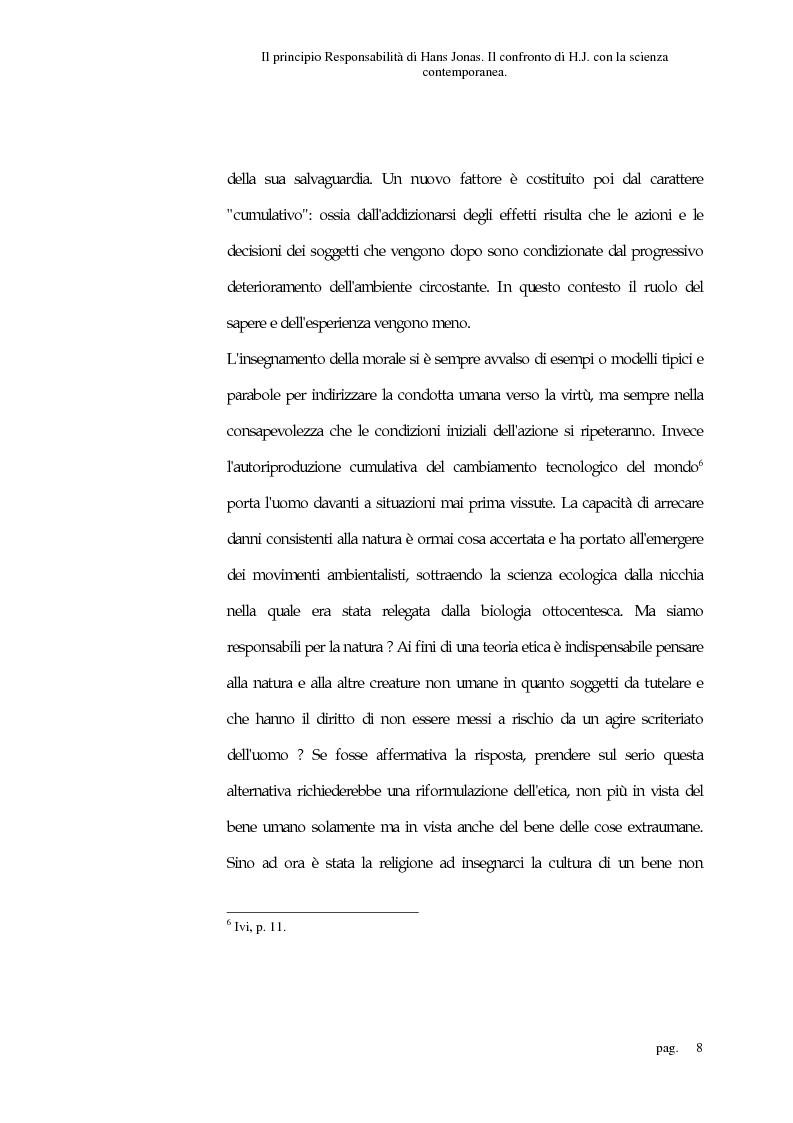 Anteprima della tesi: Il principio responsabilità di Hans Jonas. Il confronto di H. J. con la scienza contemporanea, Pagina 8