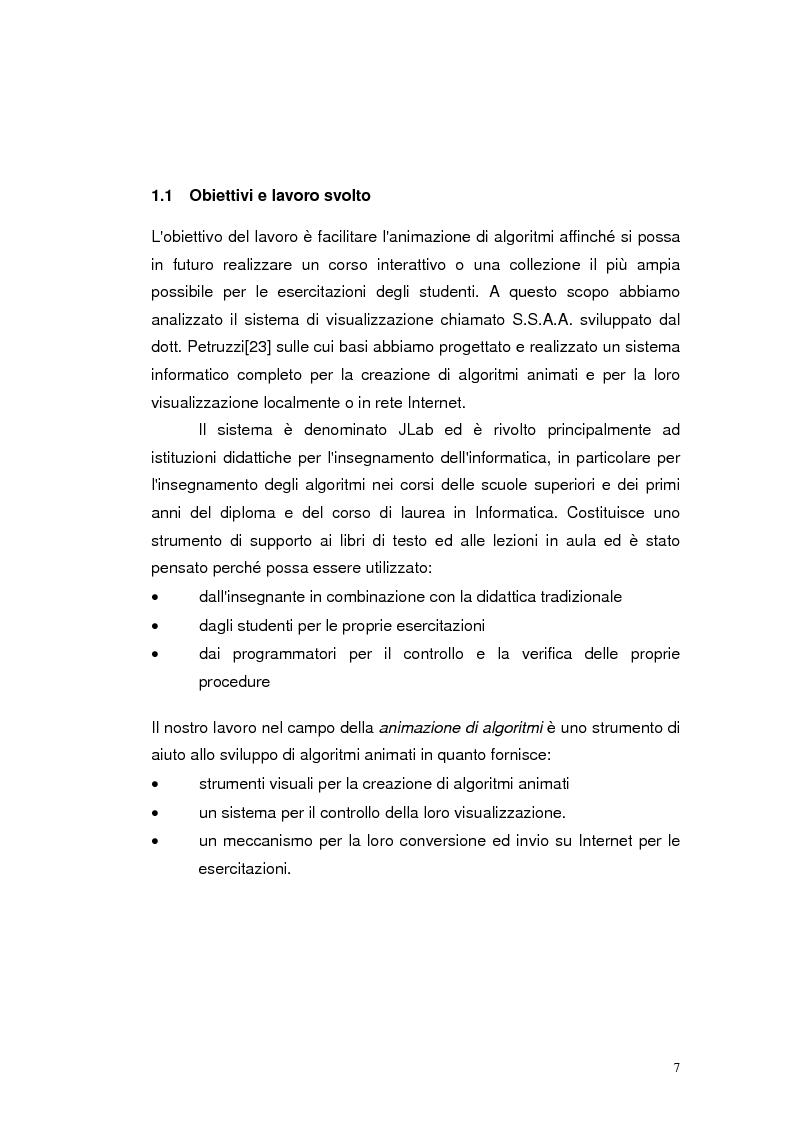 Anteprima della tesi: JLab: un sistema per la creazione di animazioni di algoritmi. Gestione degli algoritmi, Pagina 3