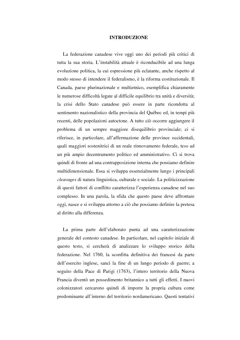 Anteprima della tesi: Il Canada: sistema federale e crisi di statualità, Pagina 1