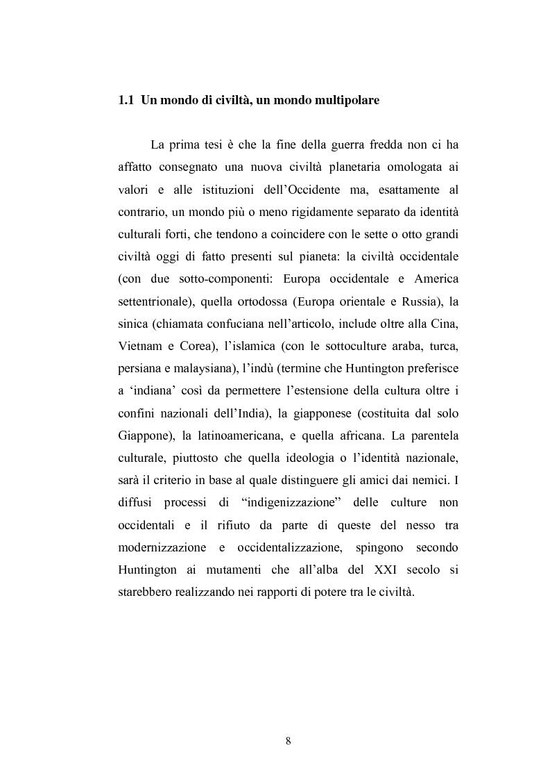 Anteprima della tesi: Il paradigma culturale di Samuel P. Huntington: analisi, critiche e prospettive, Pagina 6