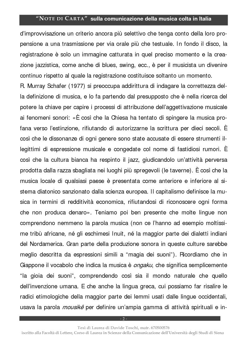Anteprima della tesi: Note di carta: sulla comunicazione della musica colta in Italia, Pagina 2