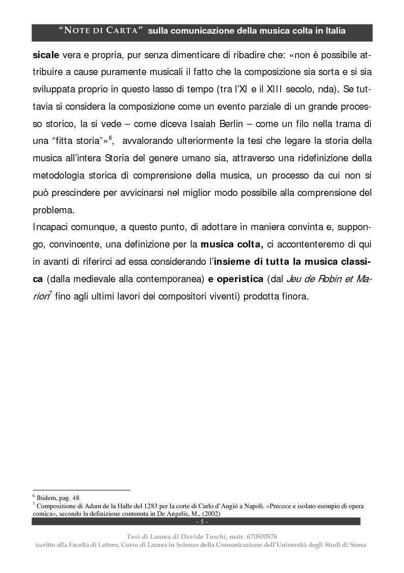 Anteprima della tesi: Note di carta: sulla comunicazione della musica colta in Italia, Pagina 5