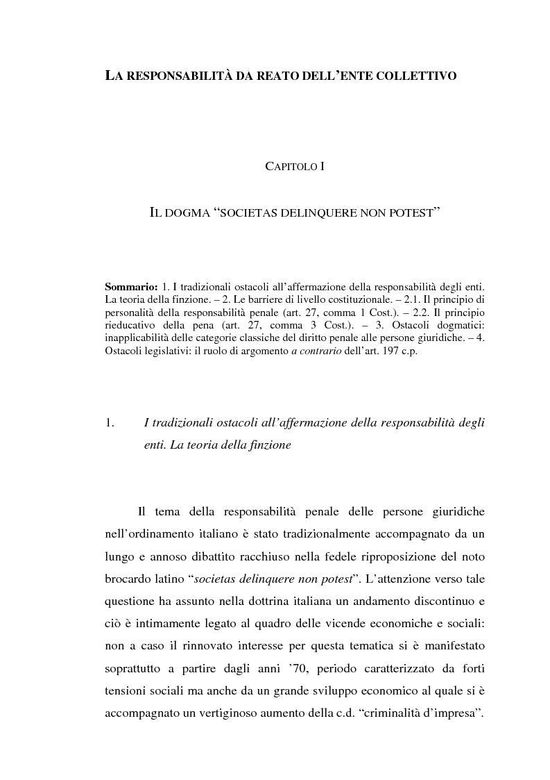 Anteprima della tesi: La responsabilità da reato dell'ente collettivo, Pagina 1
