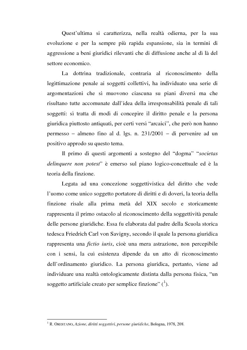 Anteprima della tesi: La responsabilità da reato dell'ente collettivo, Pagina 2