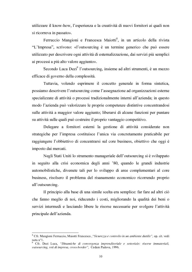 Anteprima della tesi: I vantaggi e i rischi dell'outsourcing: il global service di manutenzione in Solvay Chimica Italia SpA, Pagina 8