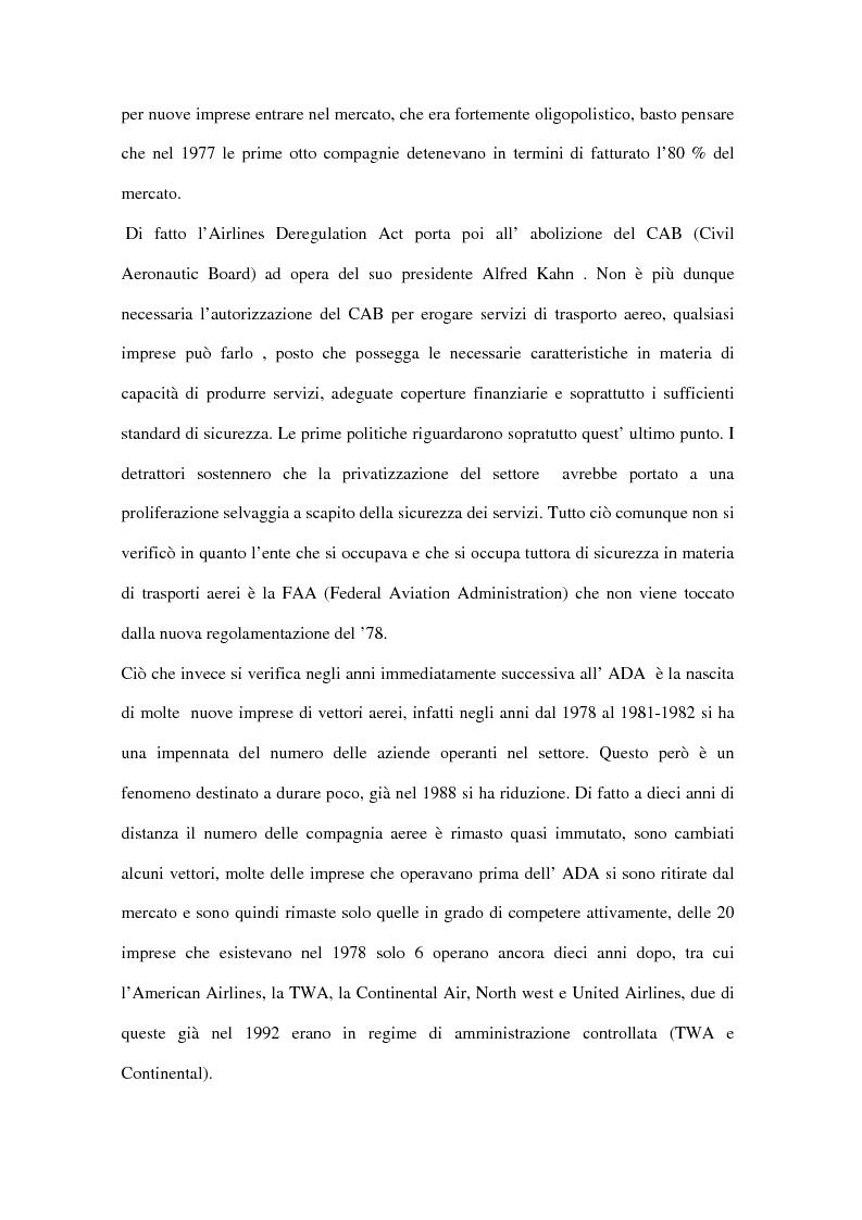 Anteprima della tesi: Trasporto aereo dopo l'11/09: evoluzione della domanda e principali effetti sulle compagnie di linea, Pagina 12