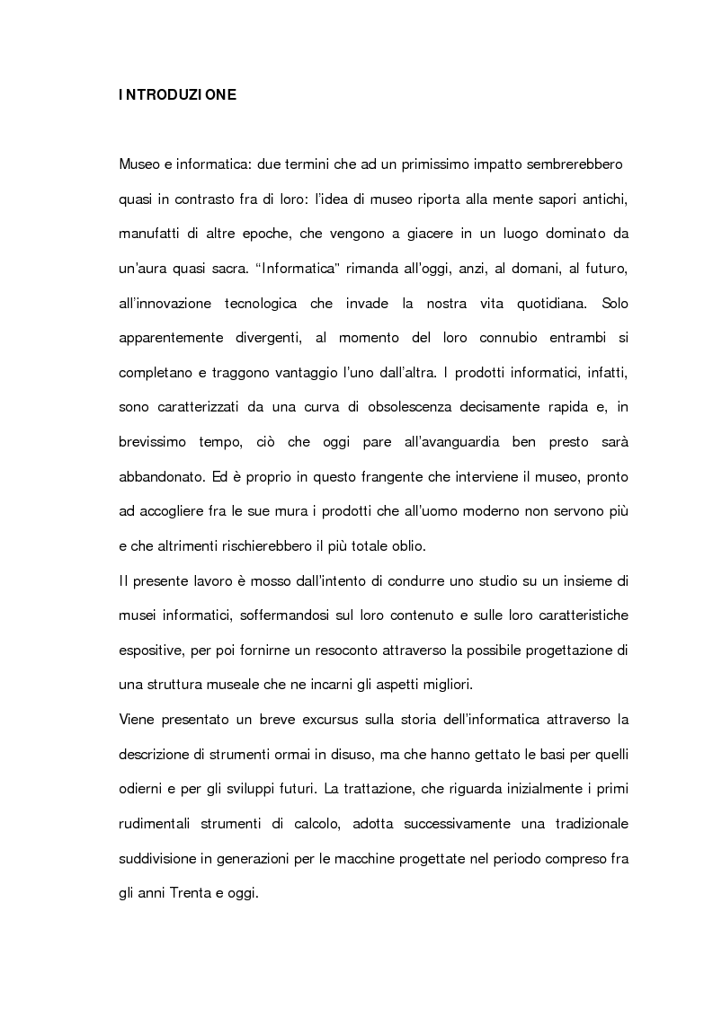 Anteprima della tesi: L'informatica esposta al museo: analisi e prospettive, Pagina 1