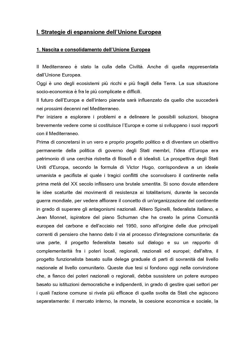Anteprima della tesi: Cooperazione economica e ambientale dell'Unione europea con paesi del sud del Mediterraneo, Pagina 1