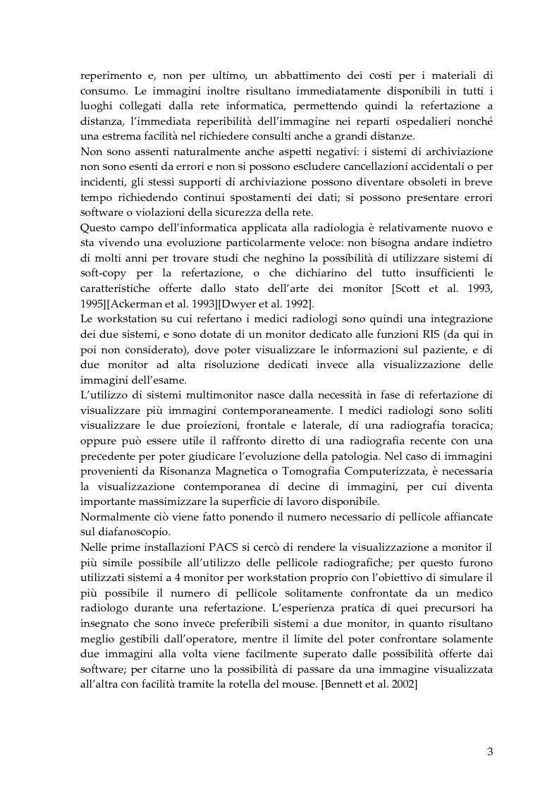 Anteprima della tesi: Valutazione delle caratteristiche fisiche di sistemi di visualizzazione ad elevata risoluzione impiegati in un sistema Pacs (Pictures Archiving and Communication System), Pagina 3