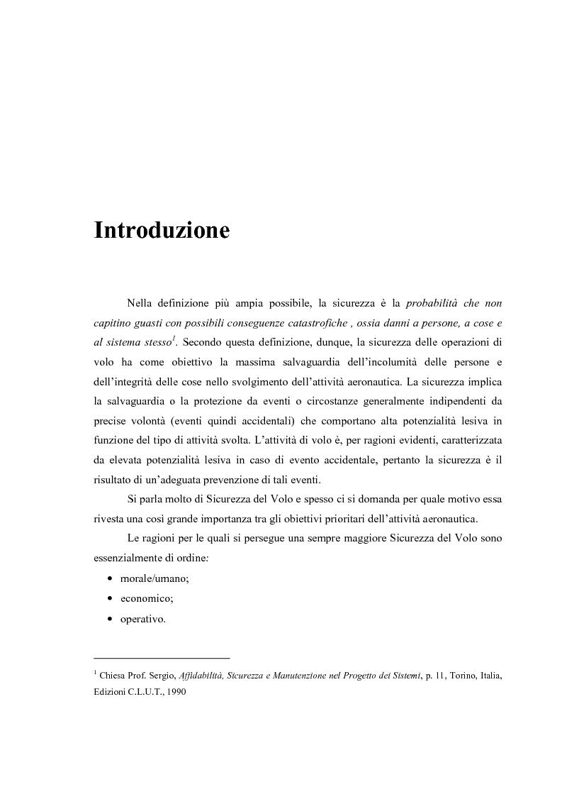 Anteprima della tesi: Sicurezza del volo – Impatto al suolo di un velivolo in regime di volo controllato (Cfit): analisi e prevenzione, Pagina 1