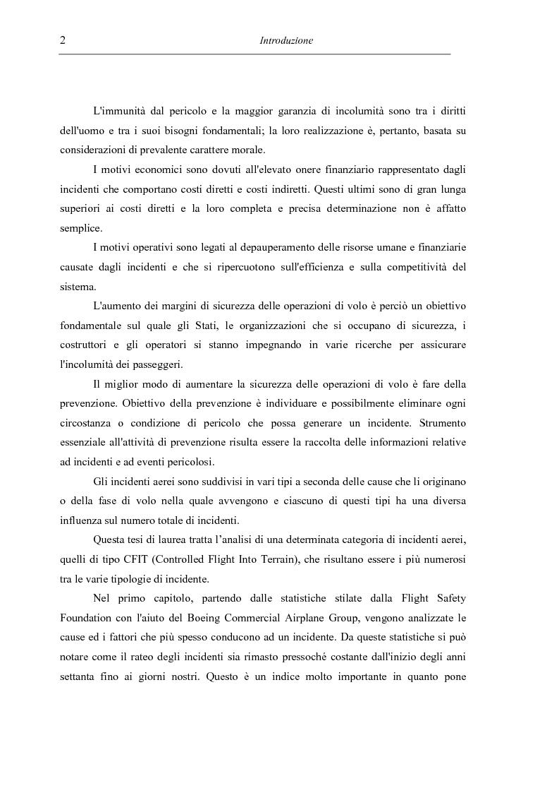 Anteprima della tesi: Sicurezza del volo – Impatto al suolo di un velivolo in regime di volo controllato (Cfit): analisi e prevenzione, Pagina 2