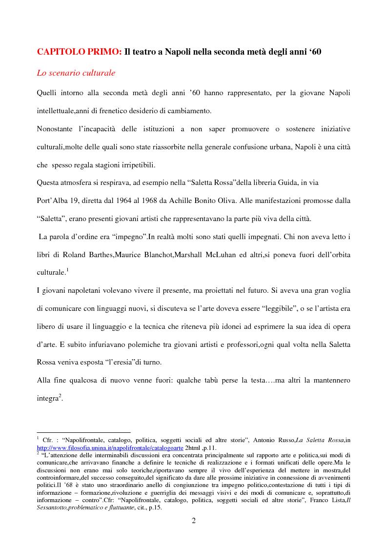 Anteprima della tesi: La sperimentazione teatrale a Napoli dal 1965 al 1975, Pagina 1
