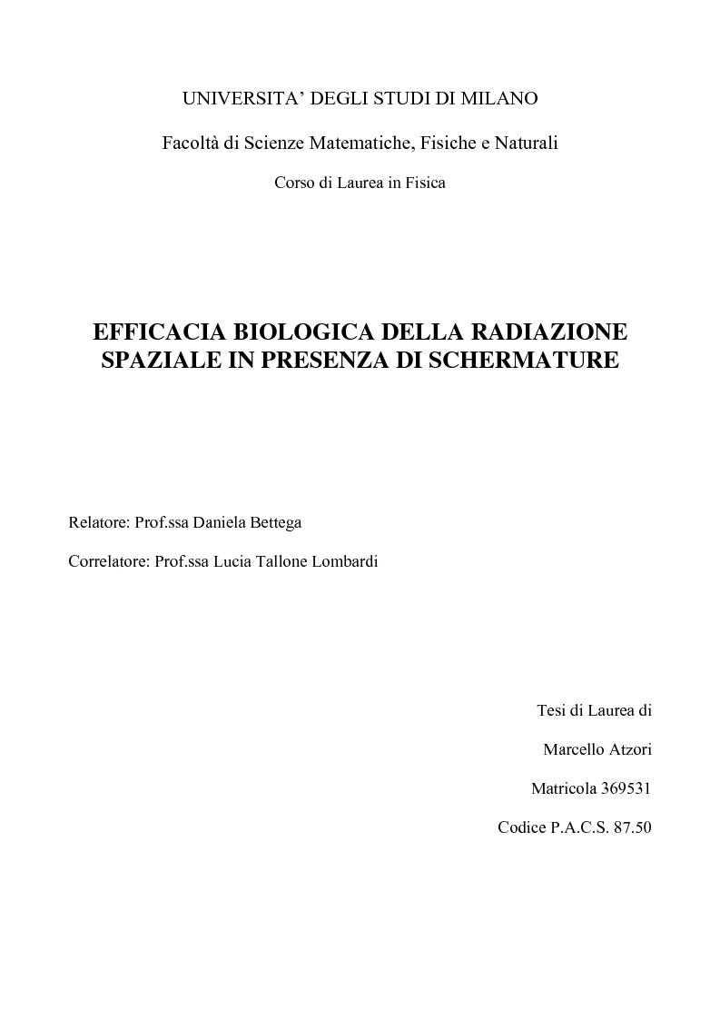 Anteprima della tesi: Efficacia biologica della radiazione spaziale in presenza di schermature, Pagina 1
