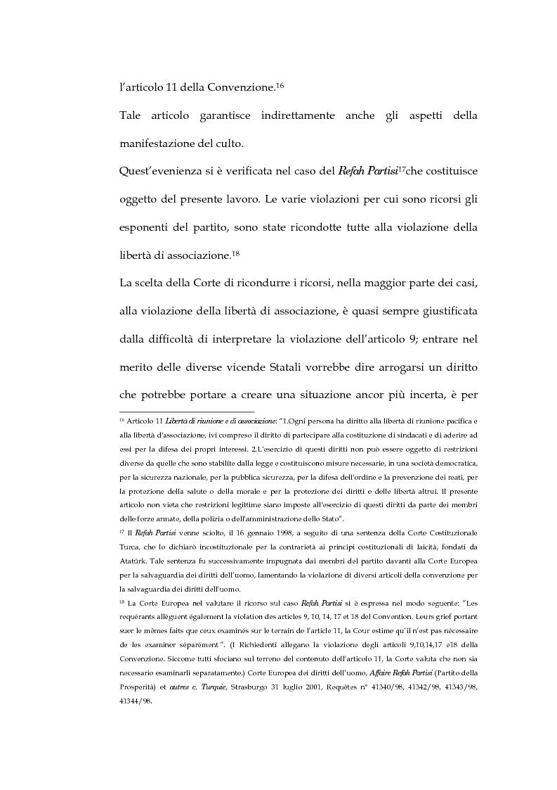 Anteprima della tesi: La sentenza della Corte Europea dei diritti dell'uomo Refah Partisi contro Turchia - Aspetti della libertà di religione in Turchia, Pagina 11