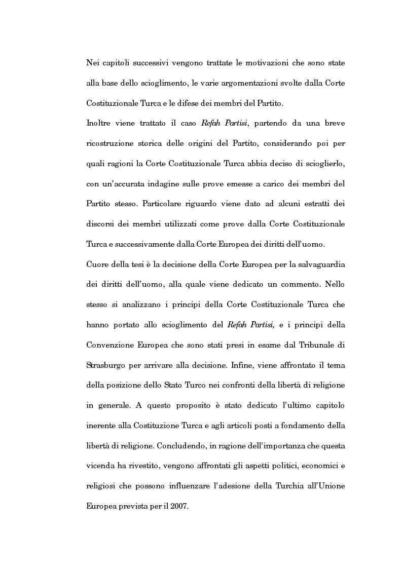 Anteprima della tesi: La sentenza della Corte Europea dei diritti dell'uomo Refah Partisi contro Turchia - Aspetti della libertà di religione in Turchia, Pagina 2