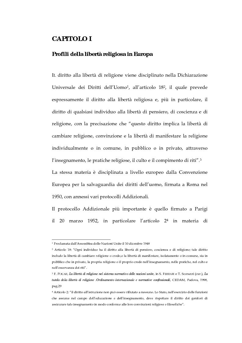 Anteprima della tesi: La sentenza della Corte Europea dei diritti dell'uomo Refah Partisi contro Turchia - Aspetti della libertà di religione in Turchia, Pagina 3