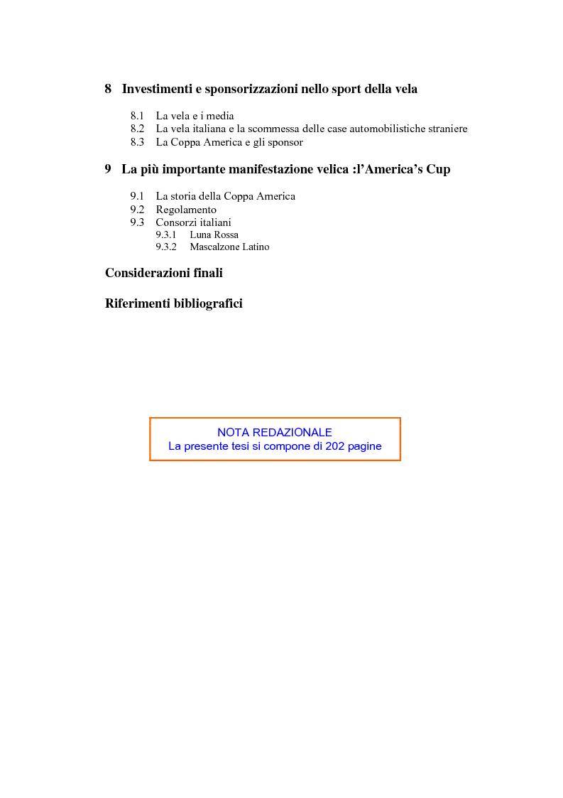Indice della tesi: L'industria nautica nell'economia italiana - Il comparto velico e l'America's Cup, Pagina 2