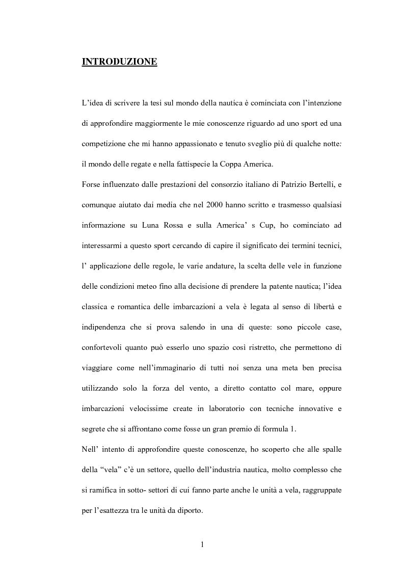 Anteprima della tesi: L'industria nautica nell'economia italiana - Il comparto velico e l'America's Cup, Pagina 1