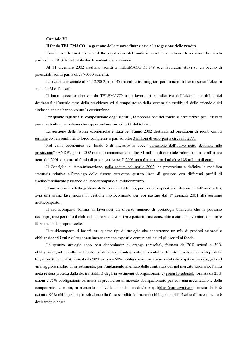 Anteprima della tesi: La previdenza complementare in Italia e nell'ordinamento comunitario. Un fondo pensione negoziale in Italia: Telemaco, fondo pensione complementare per i lavoratori delle aziende di telecomunicazione, Pagina 11