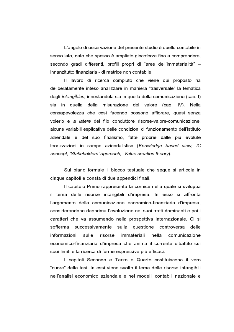 Anteprima della tesi: Le risorse intangibili nella comunicazione economico-finanziaria d'impresa, Pagina 4