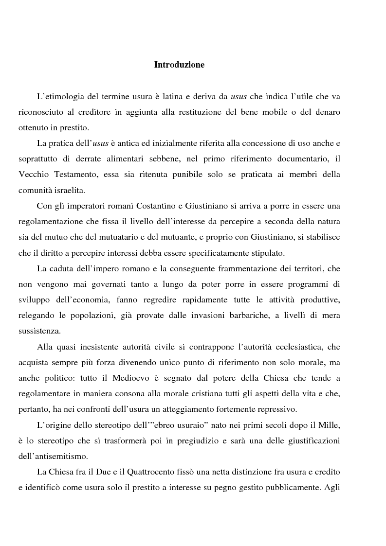 Anteprima della tesi: Profili dell'usura e della polemica antiebraica nel Rinascimento. Il ''mercante di Venezia'' di Shakespeare, Pagina 1