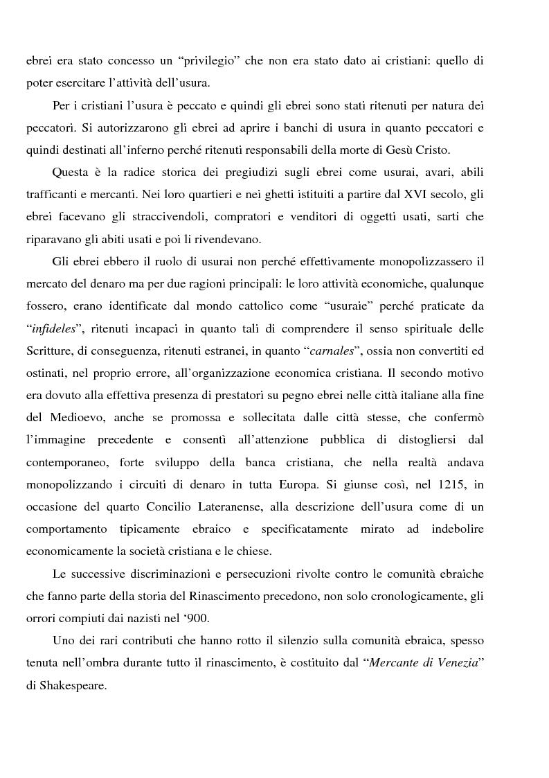 Anteprima della tesi: Profili dell'usura e della polemica antiebraica nel Rinascimento. Il ''mercante di Venezia'' di Shakespeare, Pagina 2