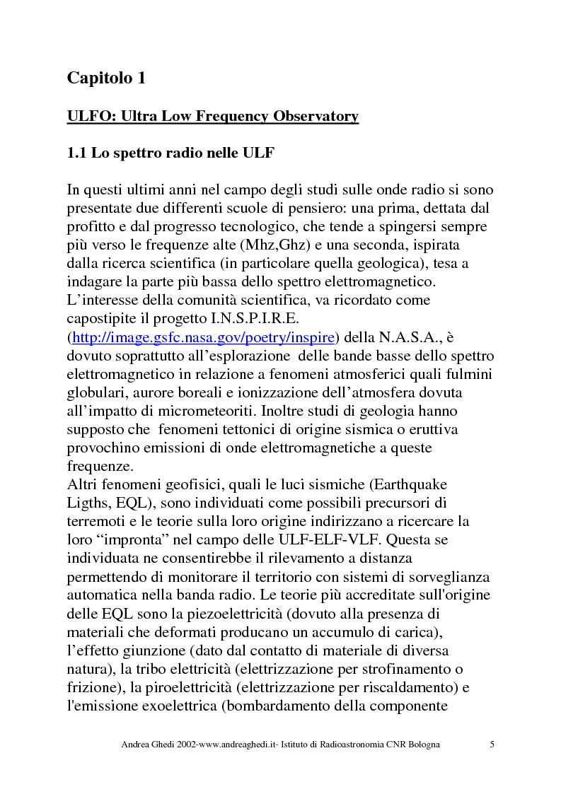 Anteprima della tesi: U.L.F.O. Sviluppo di un ricevitore per bassissime frequenze ULF 0.1-30Hz, Pagina 3