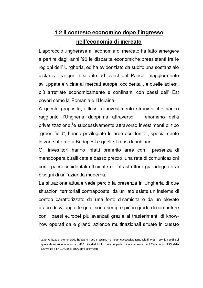 Anteprima della tesi: Imprese italiane in Ungheria. Storie di successo verso l'adesione all'Ue, Pagina 12