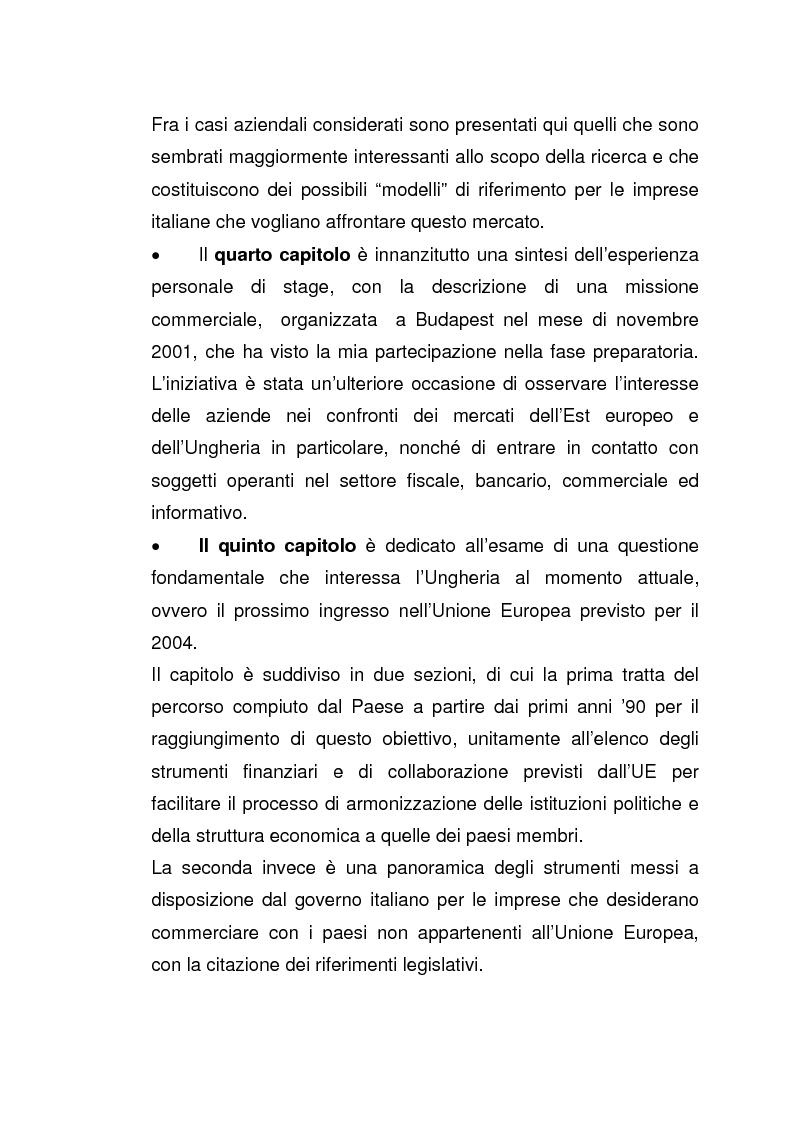 Anteprima della tesi: Imprese italiane in Ungheria. Storie di successo verso l'adesione all'Ue, Pagina 5