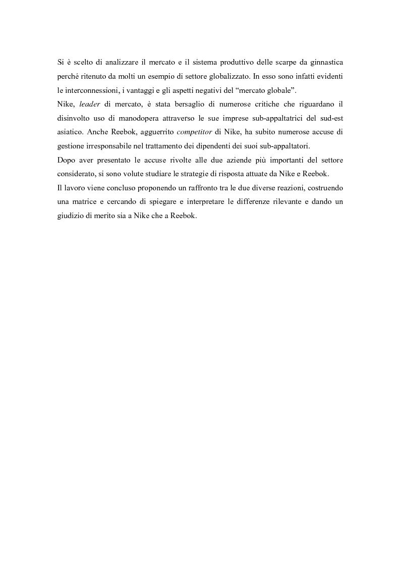 Anteprima della tesi: L'opinione pubblica come ''stakeholder'' emergente; pressioni sociali su Nike e Reebok e strategie di risposta, Pagina 2
