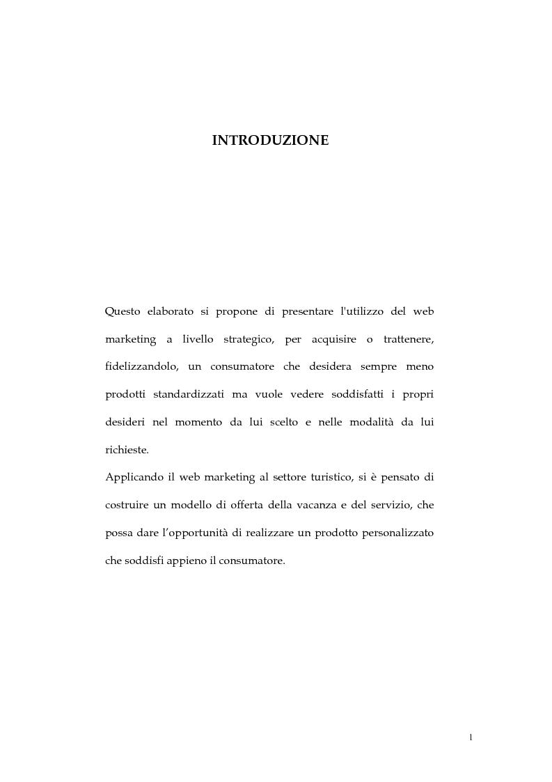 Anteprima della tesi: Web marketing nel settore turistico. Un modello di offerta per la personalizzazione della vacanza e del servizio, Pagina 1