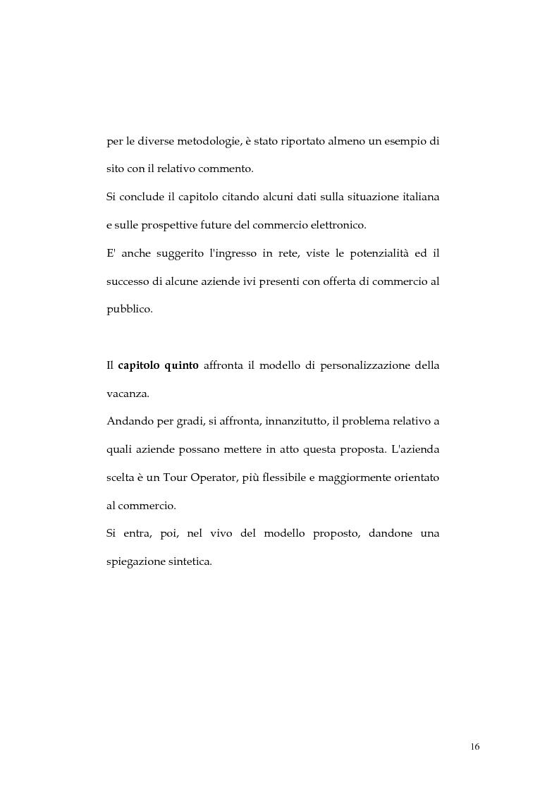 Anteprima della tesi: Web marketing nel settore turistico. Un modello di offerta per la personalizzazione della vacanza e del servizio, Pagina 16