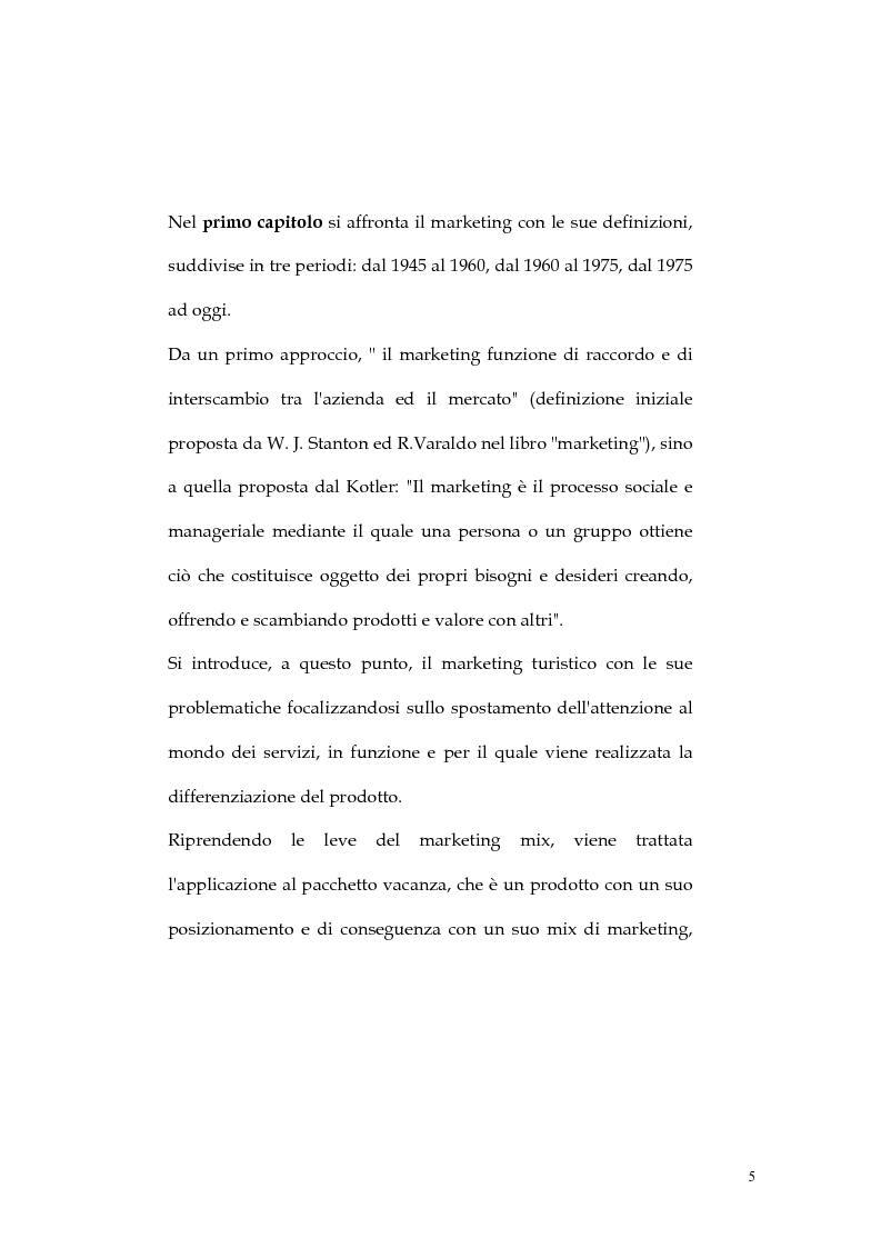 Anteprima della tesi: Web marketing nel settore turistico. Un modello di offerta per la personalizzazione della vacanza e del servizio, Pagina 5