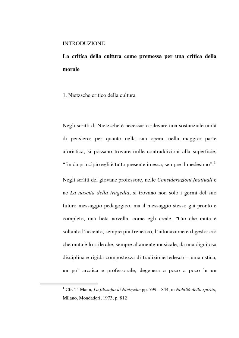 Anteprima della tesi: La critica della cultura in Friedrich Nietzsche, Pagina 1