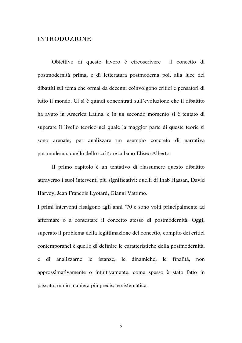 Anteprima della tesi: Il romanzo ispano-americano della postmodernità: Eliseo Alberto, Pagina 1