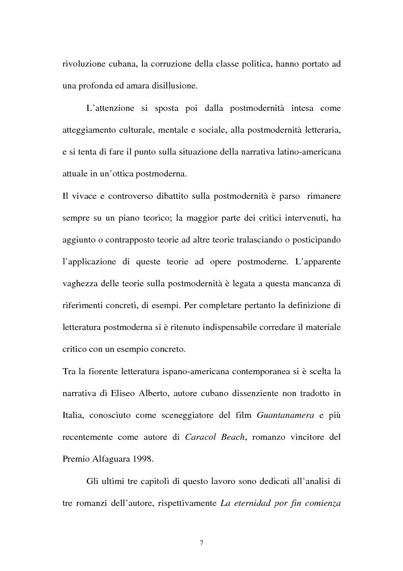 Anteprima della tesi: Il romanzo ispano-americano della postmodernità: Eliseo Alberto, Pagina 3