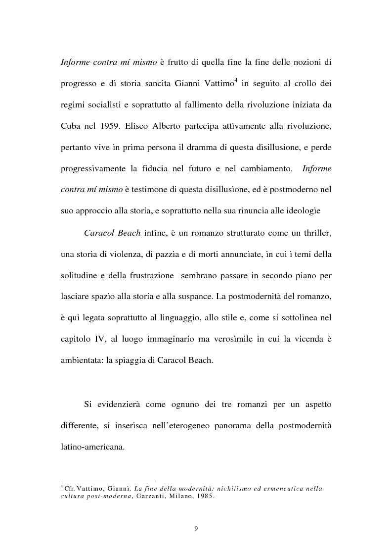 Anteprima della tesi: Il romanzo ispano-americano della postmodernità: Eliseo Alberto, Pagina 5
