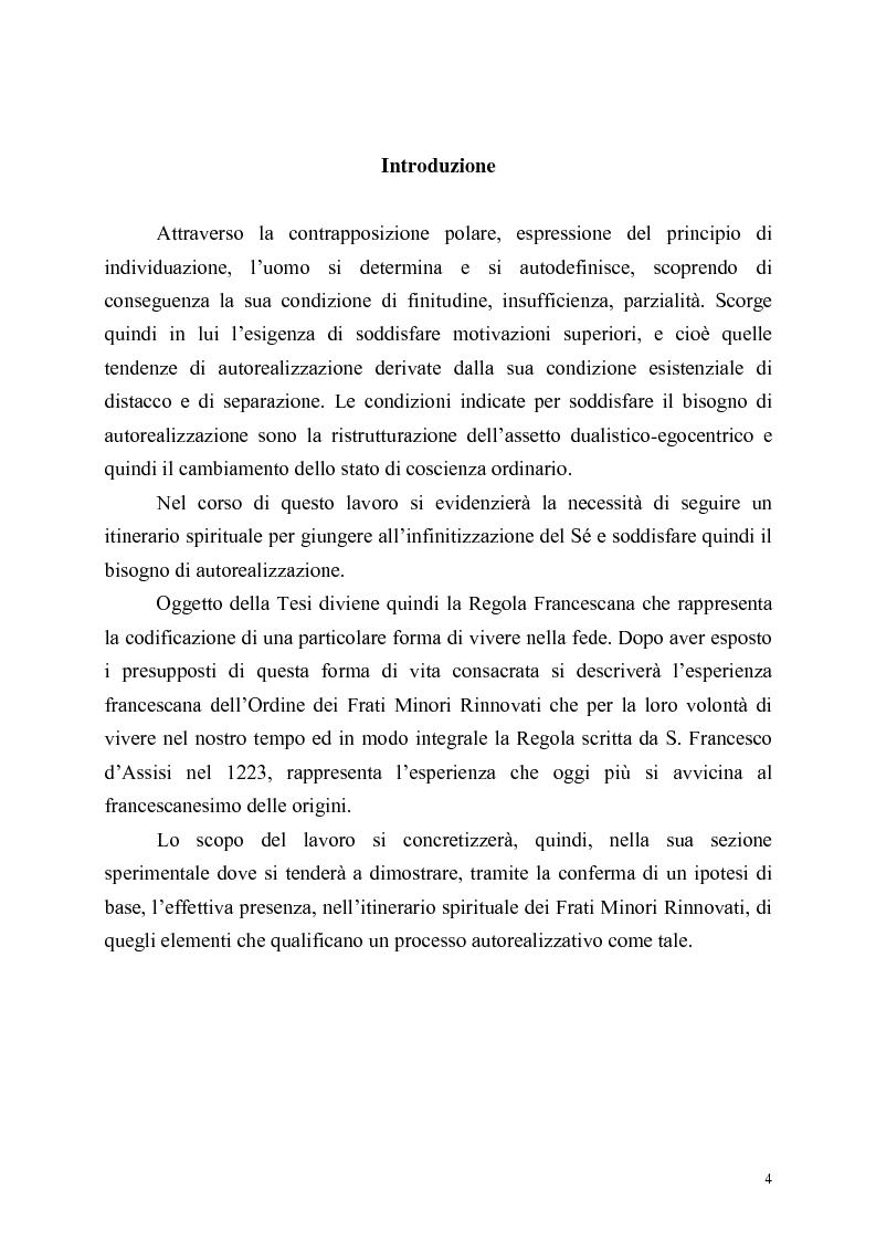 Anteprima della tesi: Itinerari di autorealizzazione. Formazione e stile di vita nell'ordine dei Frati Minori Rinnovati, Pagina 1
