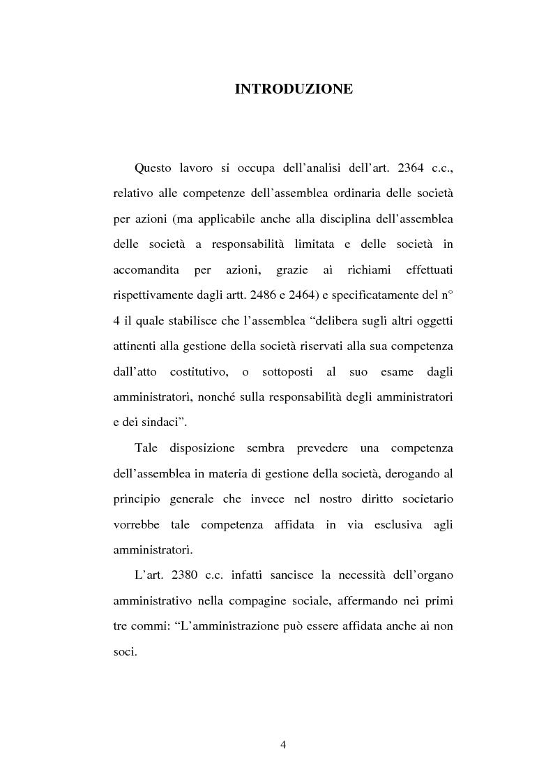 Anteprima della tesi: Assemblea e competenze gestorie, Pagina 1