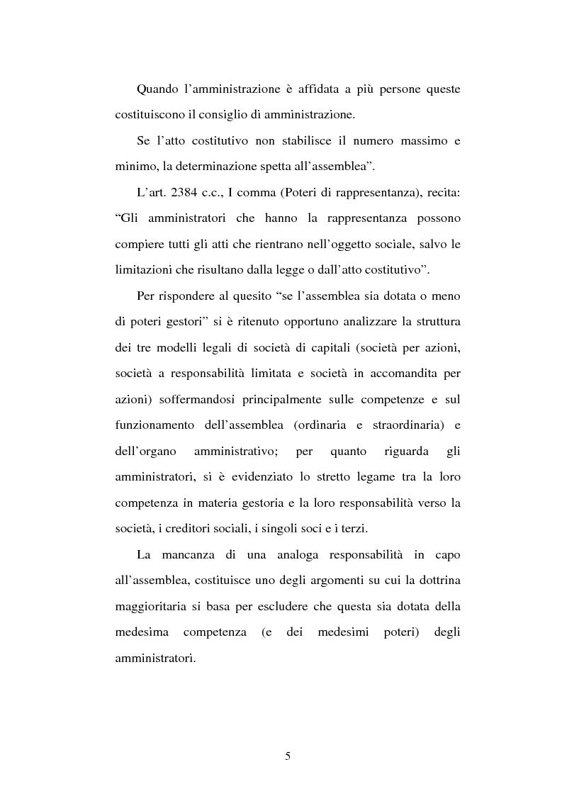 Anteprima della tesi: Assemblea e competenze gestorie, Pagina 2