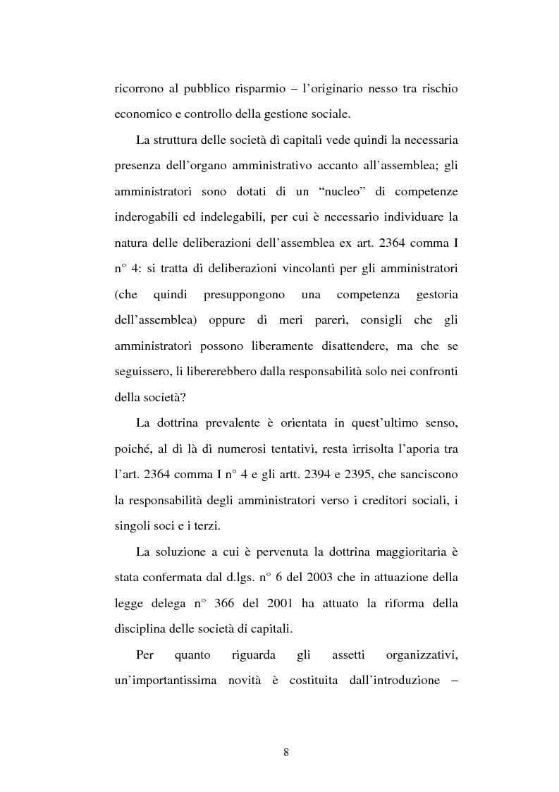 Anteprima della tesi: Assemblea e competenze gestorie, Pagina 5