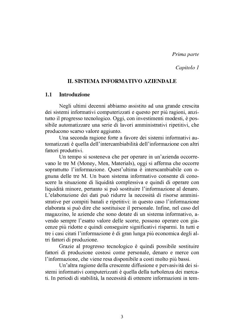 Anteprima della tesi: Sistema informativo aziendale per il controllo di gestione. Analisi di un caso, Pagina 3