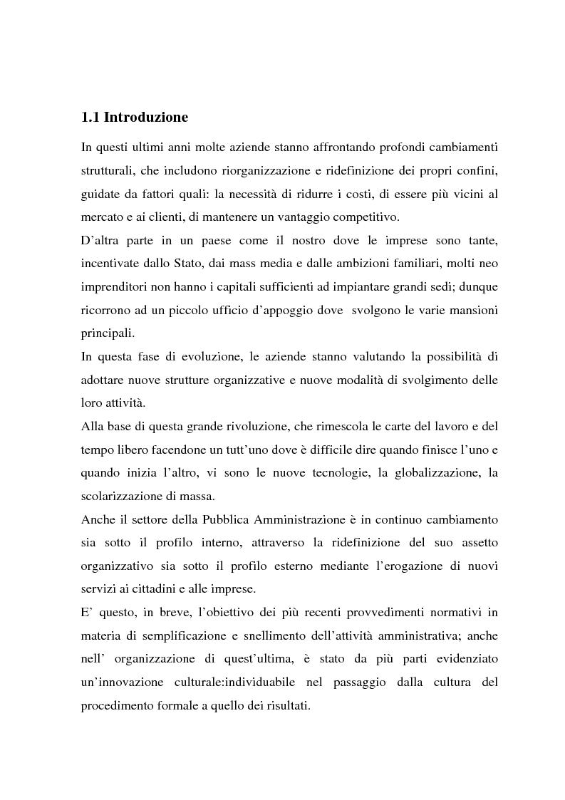 Anteprima della tesi: Telelavoro e pubblica amministrazione: opportunità e prospettive, Pagina 1