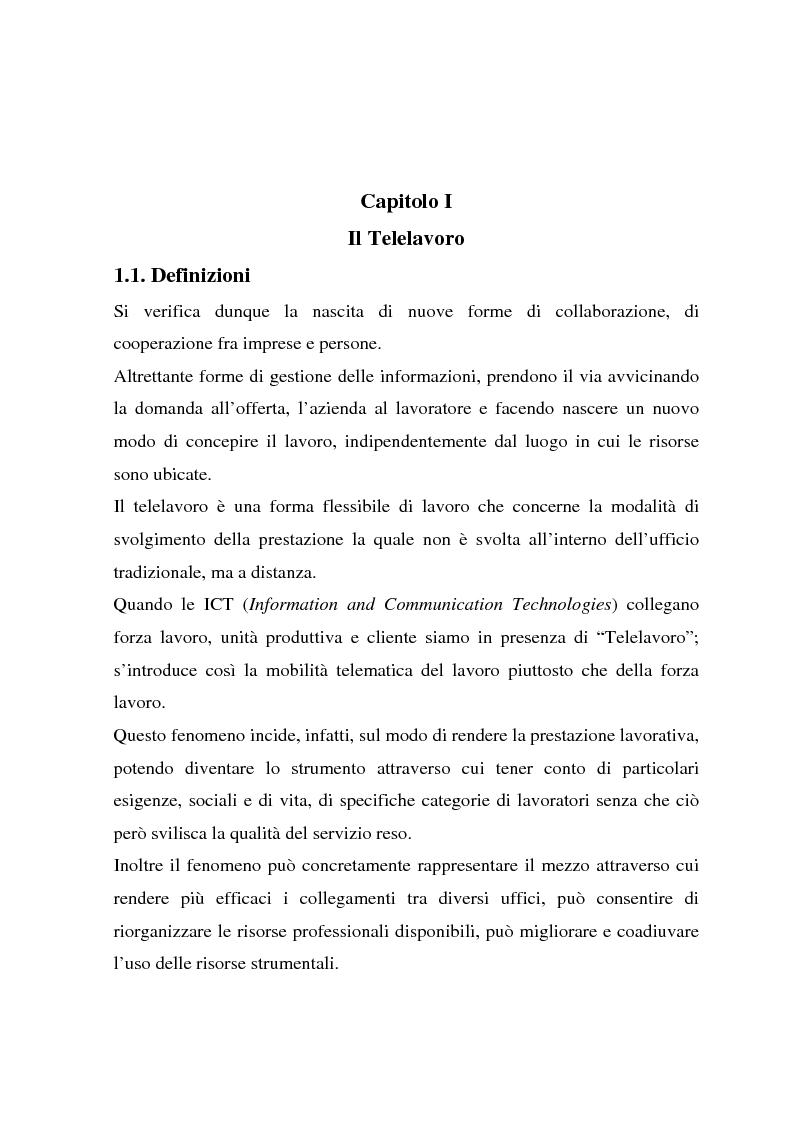 Anteprima della tesi: Telelavoro e pubblica amministrazione: opportunità e prospettive, Pagina 4