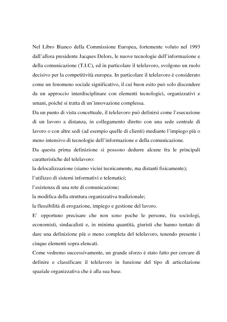 Anteprima della tesi: Telelavoro e pubblica amministrazione: opportunità e prospettive, Pagina 6