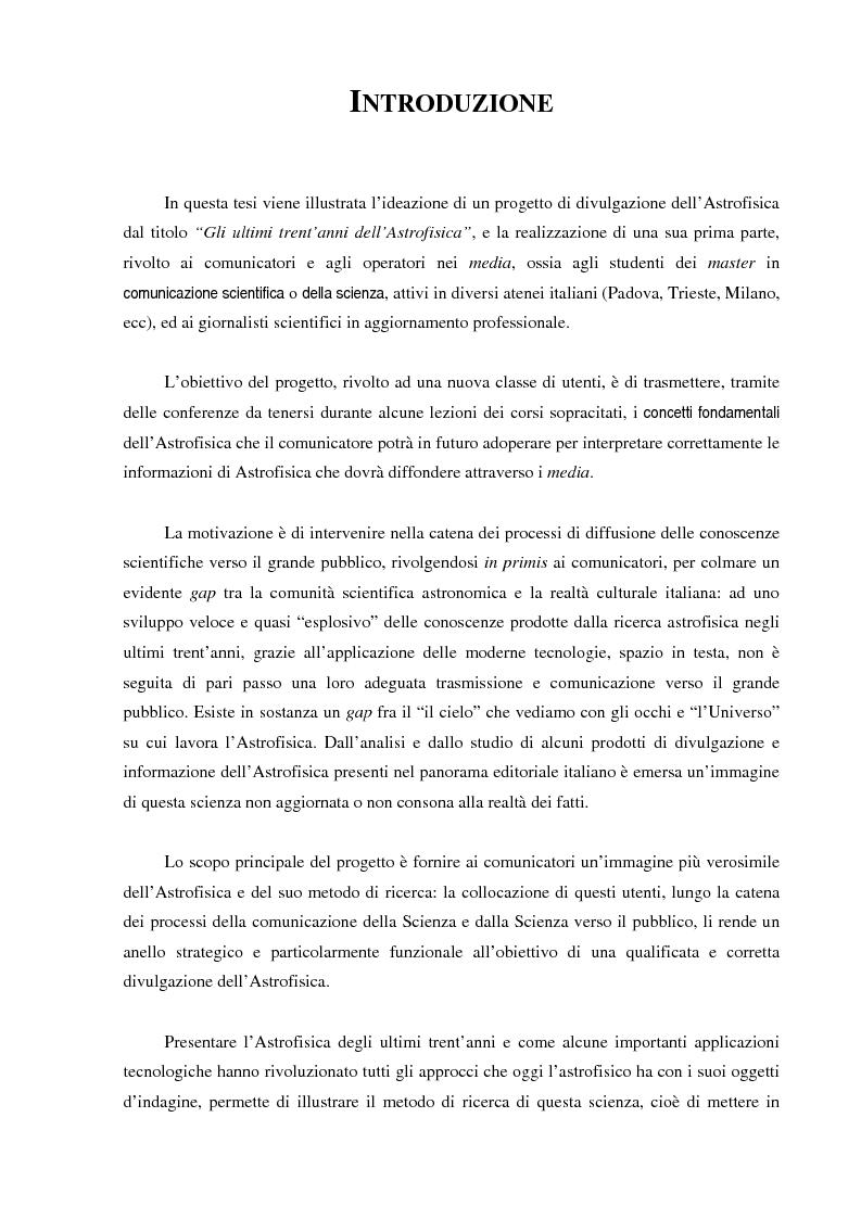 Anteprima della tesi: Ideazione e parziale realizzazione di un progetto di divulgazione dell'astrofisica per i comunicatori, Pagina 1