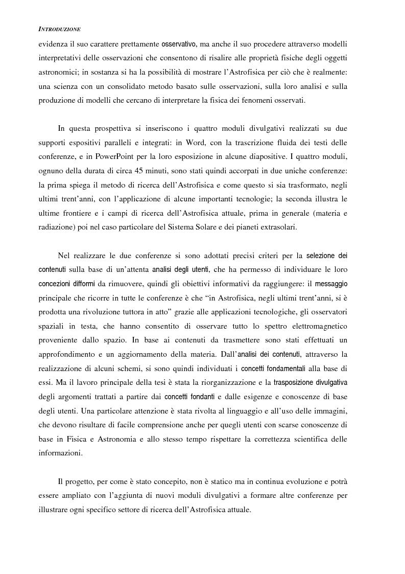 Anteprima della tesi: Ideazione e parziale realizzazione di un progetto di divulgazione dell'astrofisica per i comunicatori, Pagina 2