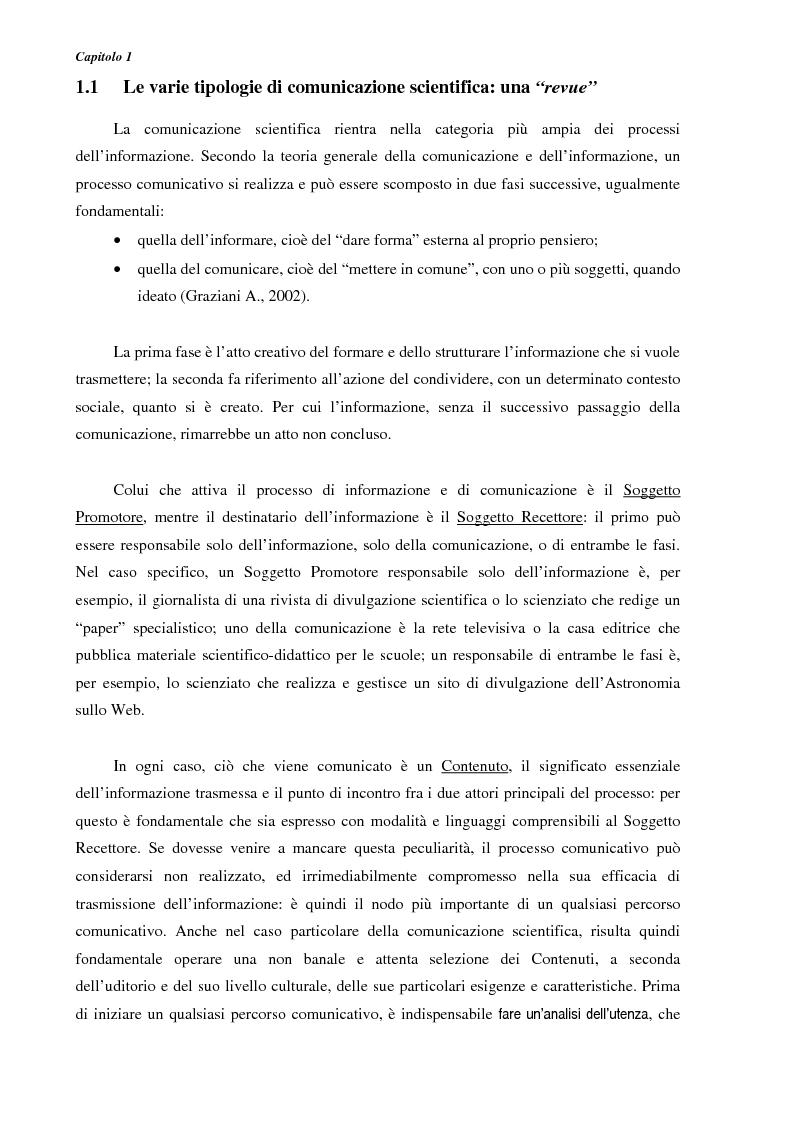 Anteprima della tesi: Ideazione e parziale realizzazione di un progetto di divulgazione dell'astrofisica per i comunicatori, Pagina 6