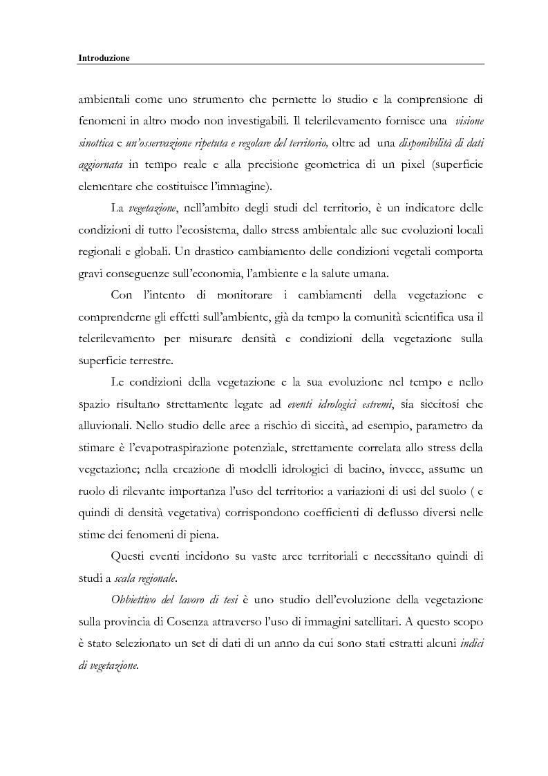 Anteprima della tesi: Evoluzione spazio temporale della copertura vegetale attraverso tecniche di telerilevamento satellitare, Pagina 2