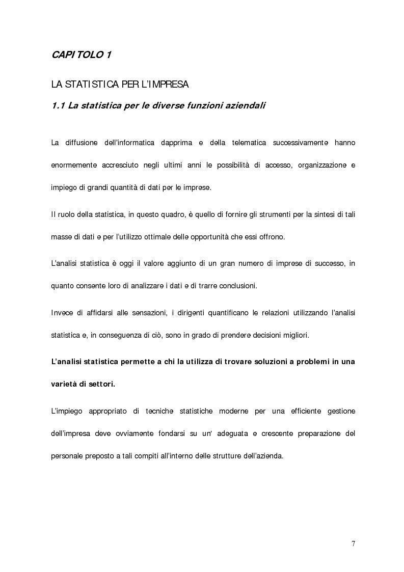 Anteprima della tesi: Il contributo della statistica alla gestione delle vendite. Un caso concreto: Acraf Spa, Pagina 5